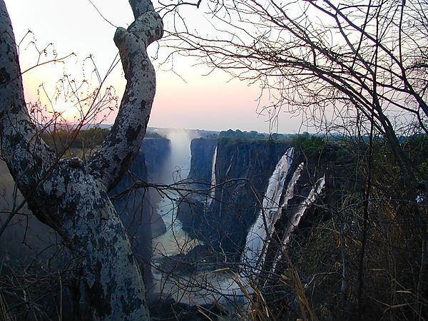 Sunset At Victoria Falls, Zambia Side