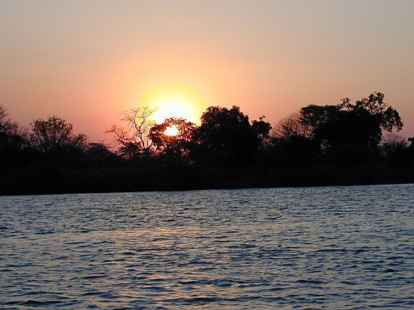 Sunset  Okavango River, Namibia