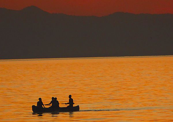 Sunset silhouette on Lake Malawi