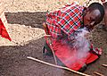 Masai making fire