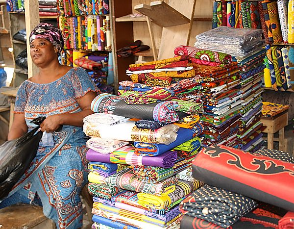 'Nana Benz' Lome market fabric seller