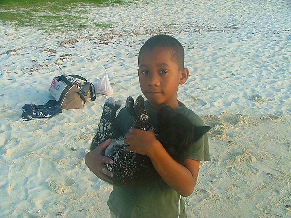 Young Mauritian Boy With Puppy