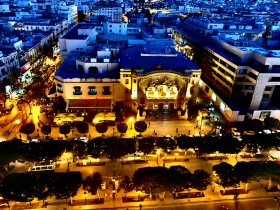 Tunis at night, with a view of the Municipal Theatre