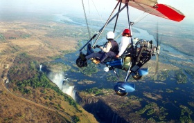 Micro-light flight over Victoria Falls