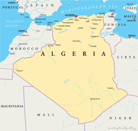 Algeria map with the capital Algiers