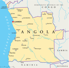 Angola map with capital Luanda