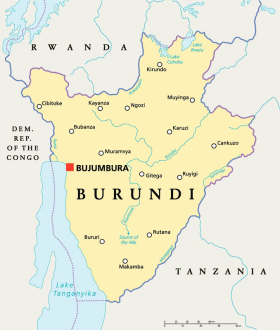 Burundi map with capital Bujumbura