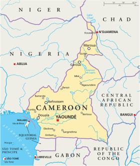 Cameroon map with capital Yaounde