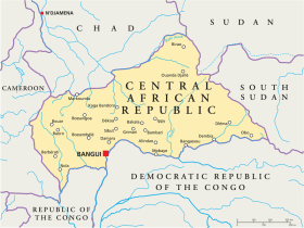 Central African Republic map with capital Bangui