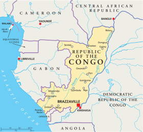 Republic of Congo map with capital Brazzaville