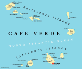 Cape Verde map with capital Praia