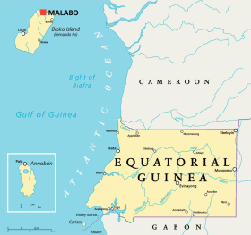 Equatorial Guinea map with capital Malabo
