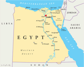 Egypt map with capital Cairo
