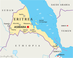 Eritrea map with capital Asmara