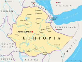 Ethiopia map with capital Addis Ababa