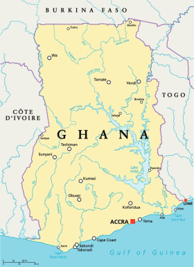 Ghana map with capital Accra