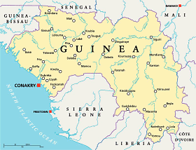 Guinea map with capital Conakry