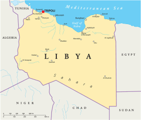 Libya map with capital Tripoli