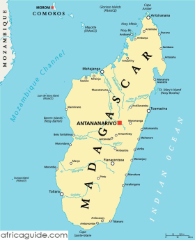 Madagascar map with capital Antananarivo