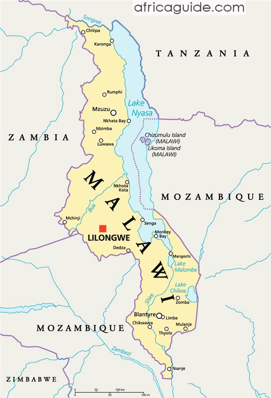 Malawi On Africa Map.Malawi Travel Guide