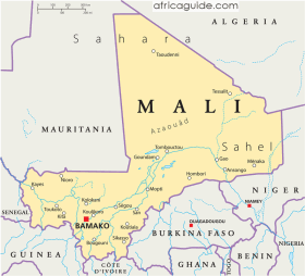 Mali map with capital Bamako