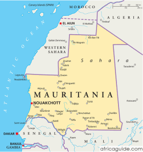 Mauritania map with capital Nouakchott