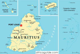 Mauritius map with capital Port Louis