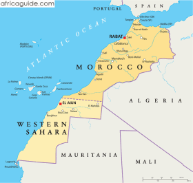 Morocco map with capital Rabat