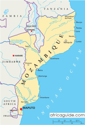 Mozambique map with capital Maputo
