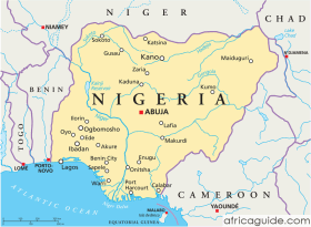Nigeria map with capital Abuja