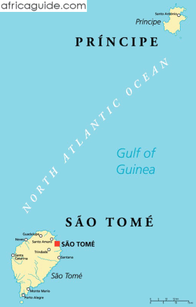 São Tomé and Principe map with capital São Tomé