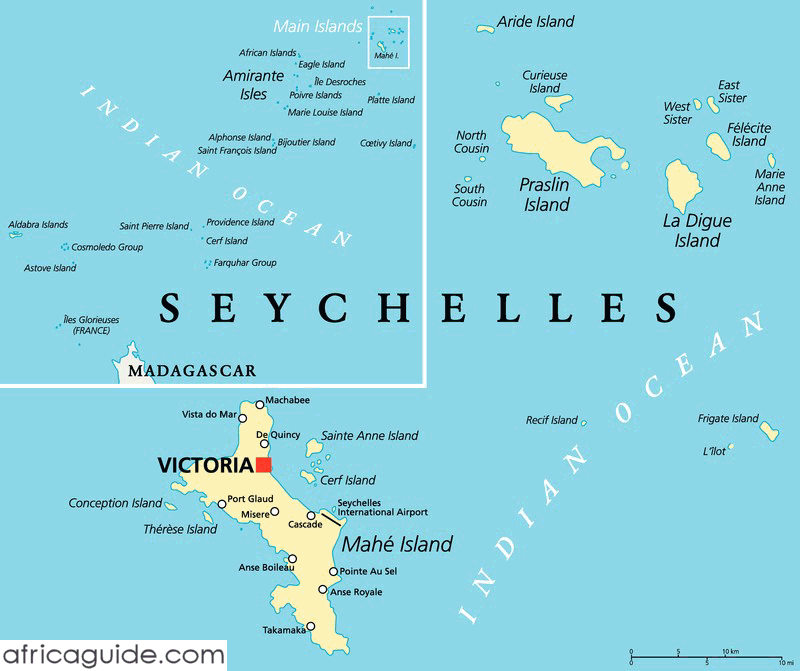 Geography Map Seychelles Islands
