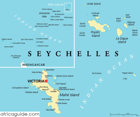 Seychelles map with capital Victoria