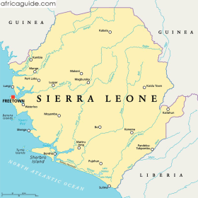Sierra Leone map with capital Freetown