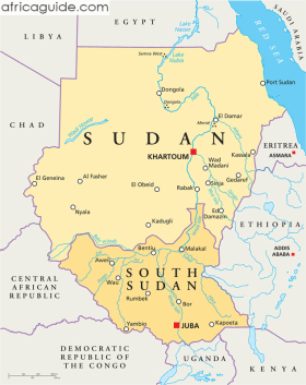 Sudan and South Sudan map with capitals Khartoum and Juba