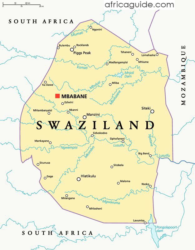 Swaziland Guide - Swaziland map