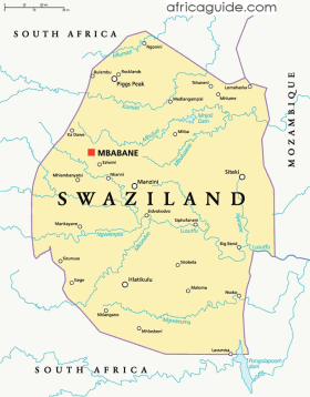 Swaziland map with capital Mbabane