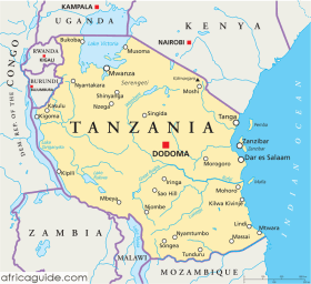 Tanzania map with capital Dodoma
