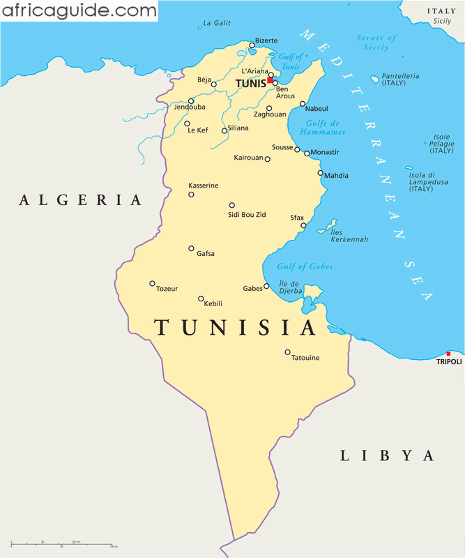Tunisia Guide - Tunisia country political map