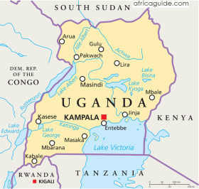 Uganda map with capital Kampala