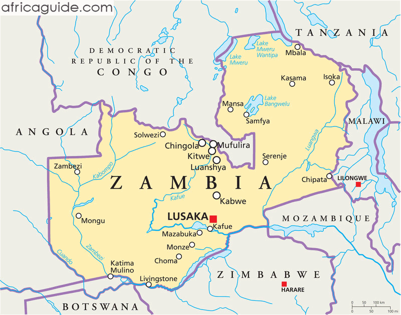Zambia guide zambia map with capital lusaka zambia map with capital lusaka click to zoom gumiabroncs Images