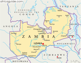 Zambia map with capital Lusaka