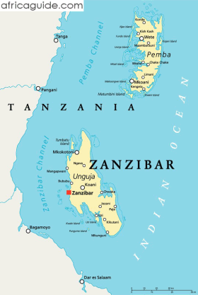 Zanzibar and Pemba map with capital Zanzibar City