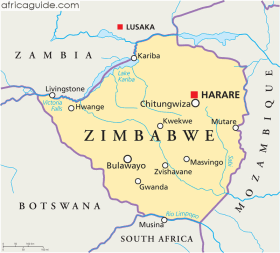 Zimbabwe map with capital Harare