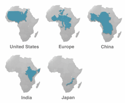 Africa With Superimposed Countries