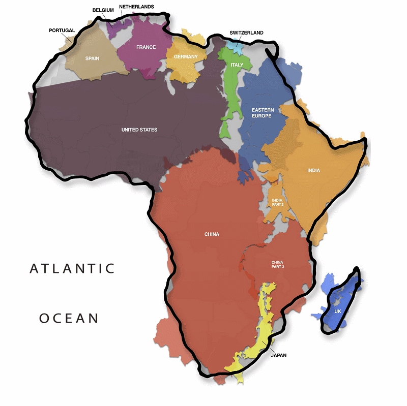 true size of Africa map