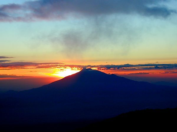 Sunset On Mt. Meru. Tanzania