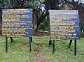 Sign Boards Starting Point  Machame Route, Kilimanjaro, Tanzania